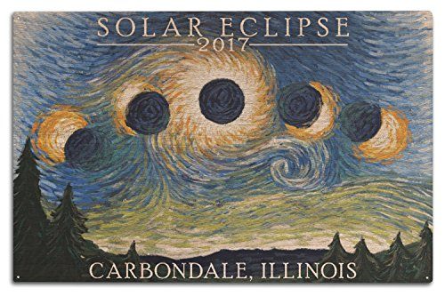 Lantern Press Carbondale, Illinois - Solar Eclipse 2017 - Starry Night (10x15 Wood Wall Sign, Wall Decor Ready to Hang) by Lantern Press