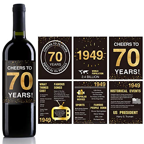 70th Birthday Anniversary Wine Bottle Labels or Stickers Present | 1949 Sign | 70th Anniversary Decorations | Funny Seventy Black Gold Party Decoration Centerpiece Supplies. | Set of 12
