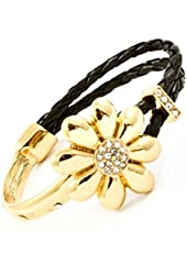 Gold Plated and Black Cord Daisy Bangle with Crystal Studs
