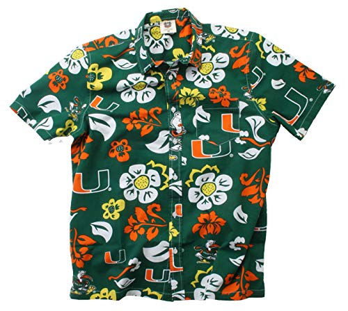 Wes and Willy NCAA Mens Short Sleeve Button Up Floral Beach Shirt (Medium, Miami Hurricanes)