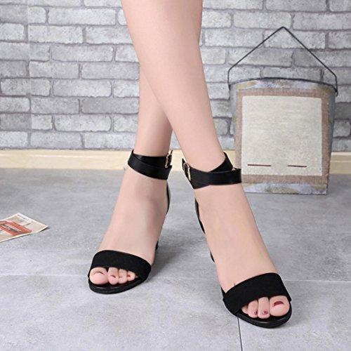 Zarupeng Frauen Knöchelriemen Heels Damen Sandalen Sommerschuhe High Heels Party Sandaletten Schwarz