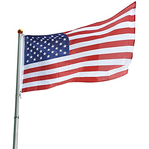 25ft Flag Pole Aluminum Telescopic Flagpole Kit US Flag Ball Fly 2 - Is Where Harbor National