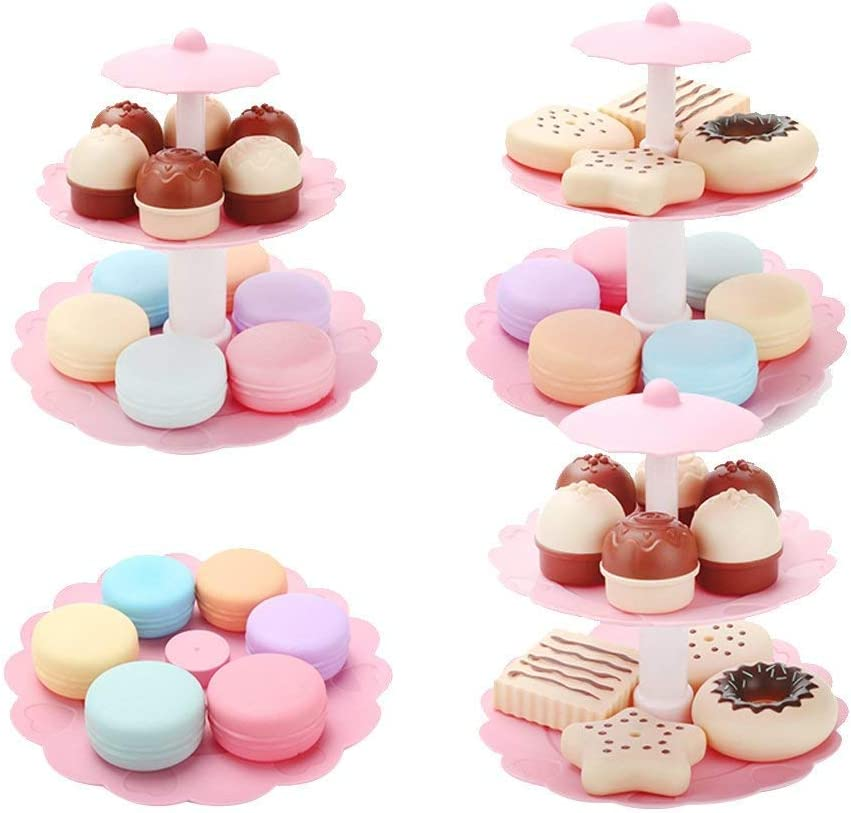 FRECI Food Pretend Play Toy Set Sweet Treats 3-Tier Colorful Cookies Desserts Tower for Kids