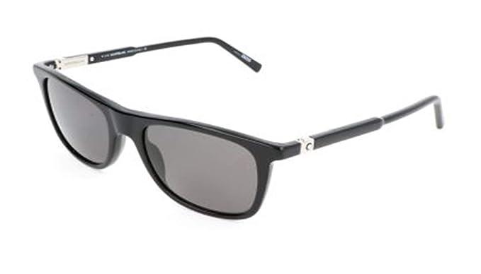 975c51b65a2 Amazon.com  Montblanc Rectangular Sunglasses MB647S 01D Shiny Black ...