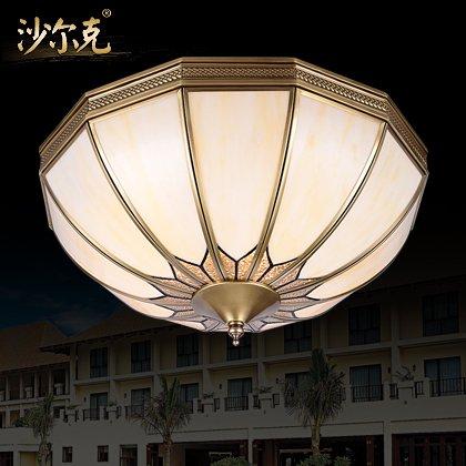 BLYC- 4 kontinentalen Kupfer Lampe Schlafzimmer Studie Deckenleuchten American Löten Balkon Gang Leuchtlampen 450mm