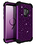 Lontect Compatible Galaxy S9 Case Luxury Glitter Sparkle Bling Heavy Duty Hybrid Sturdy Armor Defender High Impact Shockproof Protective Cover Case for Samsung Galaxy S9 - Shiny Purple/Black