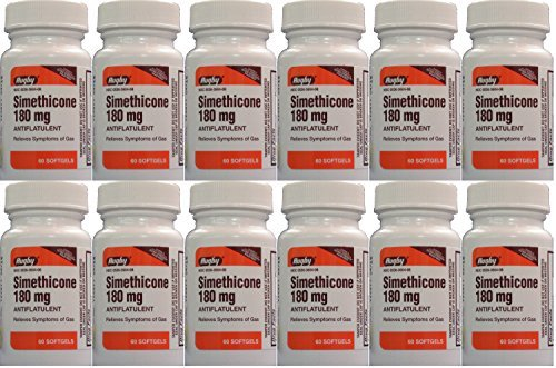 Simethicone 180mg Softgels Anti-Gas Generic for Phazyme Ultra Strength 60 Gelcaps per Bottle Pack of 12 Total 720 Gelcaps by RUGBY LABORATORIES by RUGBY LABORATORIES