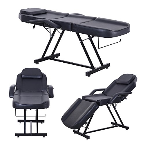 Apelila Beauty Salon Chair Massage Table Bed Folding Therapy SPA Bed Facial Tattoo Chair(Black)