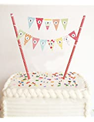 EL-SKY Mini Happy Birthday Cake Bunting Banner Cake Topper Garland - Handmade Pennant Flags with Red Dots Straw Pole, Party Cake Decoration Supplies