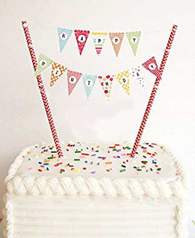 ELSKY Mini Happy Birthday Cake Bunting Banner Cake Topper Garland - Handmade Pennant Flags with Red Dots Straw Pole, Party Cake Decoration (Garden Flag Tony Stewart)