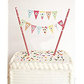 EL-SKY Mini Happy Birthday Cake Bunting Banner Cake Topper Garland - Handmade Pennant Flags with Red Dots Straw Pole, Party Cake Decoration Supplies 10 Happy Birthday pennant bunting banner made from cardstock. Two red foil dot poles are made from biodegradable food safe paper straws. Banner poles are approx 7.6 inches high. Banner extends horizontally approx 10 inches wide (adjustable by end user).