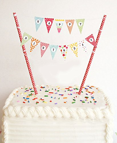 ELSKY Mini Happy Birthday Cake Bunting Banner Cake Topper Garland - Handmade Pennant Flags with Red Dots Straw Pole, Party Cake Decoration Supplies