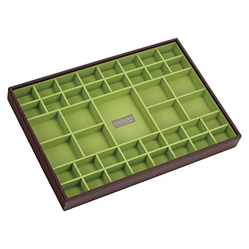 STACKERS jewellery box | supersize chocolate brown & bright green criss cross stacker