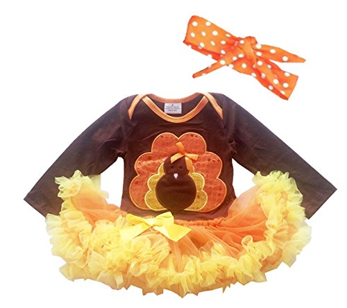 Newborn Infant Baby Girls Thanksgiving Romper Dress Hairband Set Gold Turkey (XS#0-3Month) - Thanksgiving Dress