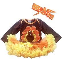Newborn Infant Baby Girls Thanksgiving Romper Dress Hairband Set Gold Turkey