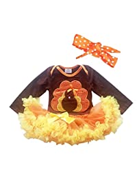 Newborn Infant Baby Girls Thanksgiving Romper Dress Hairband Set Gold Turkey