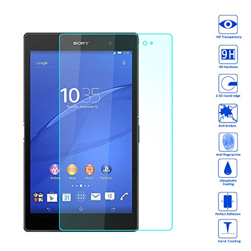 Wunderglass - Sony Xperia Z3 Tablet Compact Screen Protector 9H Tempered Glass Protector Screen Protector from toughened glass foil film - by OKCS® (Sony Xperia Z Screen Protector)