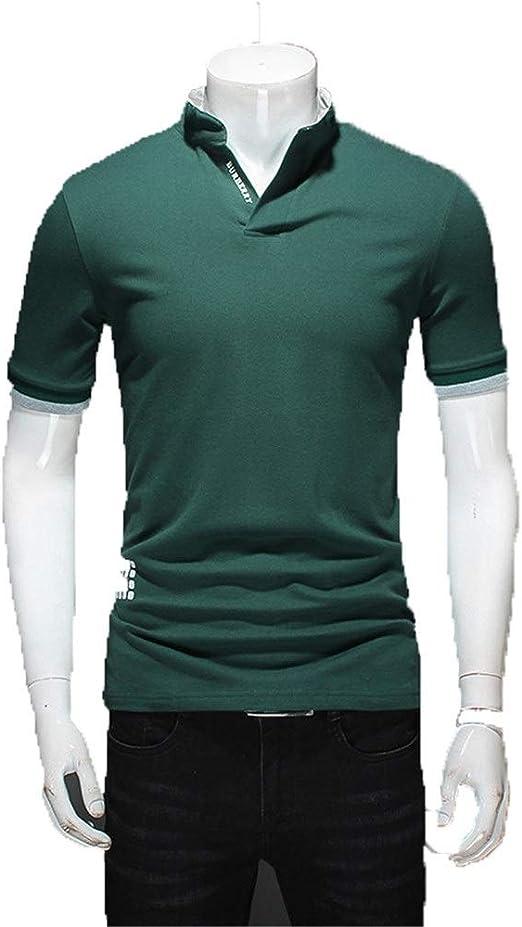 Camiseta de hombre Para hombre Casual Camisas Slim Fit Cuello alto ...