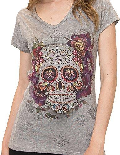 Sweet Gisele Woman Sugar Skull Grey V-Neck T-Shirt Tee | Beautiful Print Decorated with Sparkling Bling Rhinestones