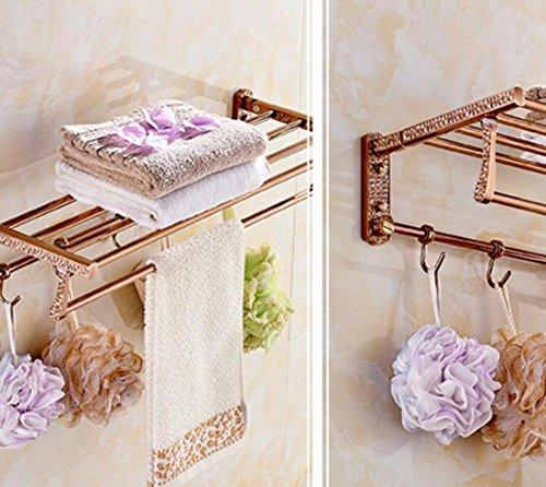 GL&G European luxury Rose gold Bathroom Bath Towel Rack Double Towel Bar Space aluminum Bathroom Storage & Organization Bathroom Shelf Shower Wall Mount Holder Towel Bars,6023.513.5cm by GAOLIGUO (Image #1)