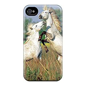 Tpu Case Cover Compatible For Iphone 4/4s/ Hot Case/ Animals Silver Horses