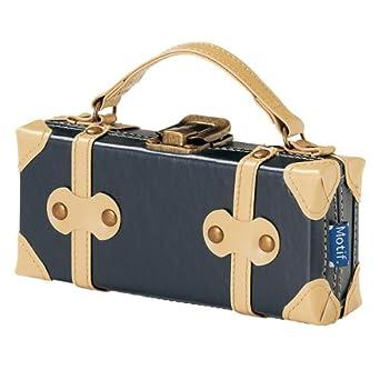 028e05c548 Amazon.co.jp: トランク型メガネケース/サングラスケース/ペンケース/フェイクレザー革/ふでばこ/ブランドMotifモチーフ/ネイビー:  服&ファッション小物