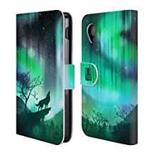 Head Case Designs Green Howling Wolf Northern Lights Leather Book Wallet Case Cover For LG Nexus 5