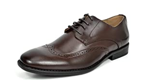 Bruno MARC DP08 Men's Formal Modern Leather Wing Tip Loafers Lace Up Classic Lined Oxford Dress Shoes DARK BROWN SIZE 10.5
