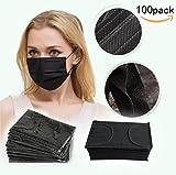 JKLcom Black Disposable Face Mask Face Mask Medical Black Earloop Face Mask Non-woven 4 Layer Disposable Face Mask Filter Mouth Cover Mask for Medical, Dental, Nail Salons,Surgical,Pack of 100