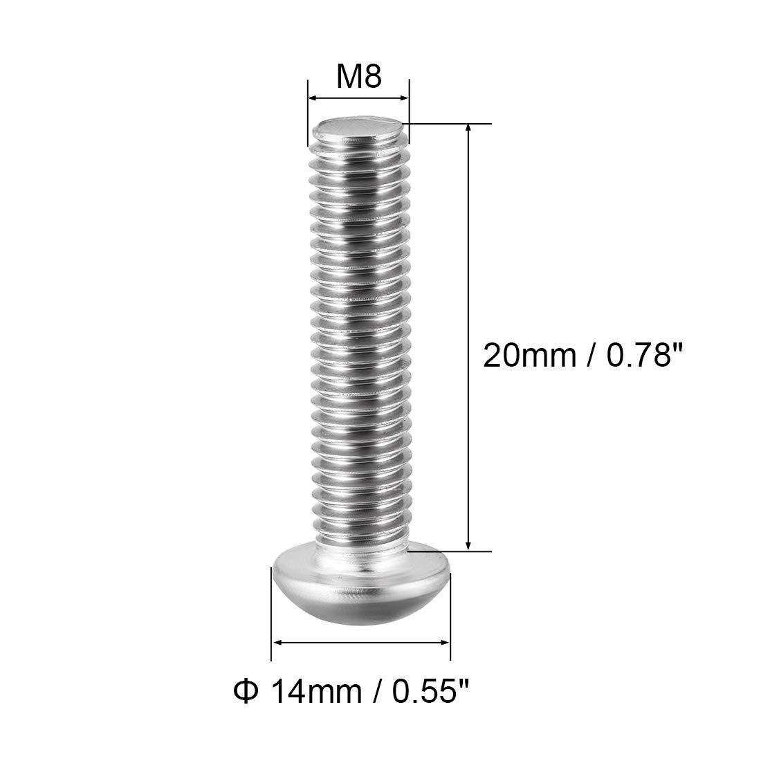 sourcing map M8x12mm Vis /à m/étaux t/ête ronde /à six pans creux Boulon 10Pcs
