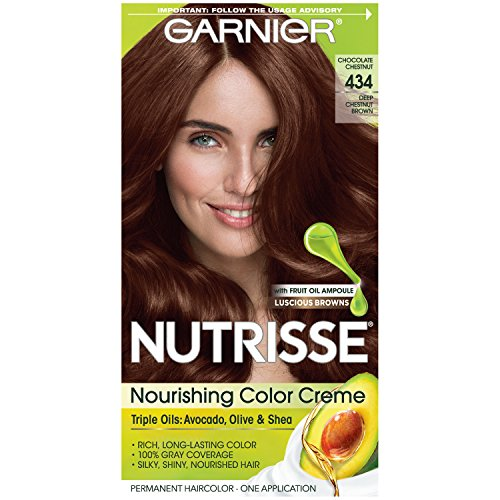 Garnier Nutrisse Nourishing Hair Color Creme, 434 Deep Chestnut Brown (Chocolate Chestnut)  (Packaging May Vary) (Good Hair Dye Colors For Dark Brown Hair)