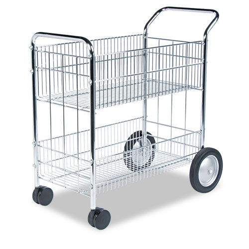 Wire Mail Cart, 21-1/2w x 37-1/2d x 39-1/4h, Chrome, Sold as 1 Each by Fellowes