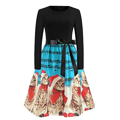 Sunhusing Ladies Round Neck Long Sleeve Christmas Musical Notes Cute Kitten Cat Print Bow Belt Pleated Dress