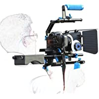 SunSmart Professional DSLR Rig + Follow Focus + Matte Box + Adjust Platform+ C Shape Support Cage +Top Handle for All DSLR Cameras and Video Camcorders