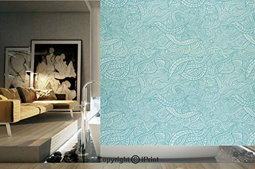 - Decorative Privacy Window Film/Vintage Botanic Nature Leaves Veins Swirls Ivy Mosaic Inspired Image Print Decorative/No-Glue Self Static Cling for Home Bedroom Bathroom Kitchen Office Decor Turquoise