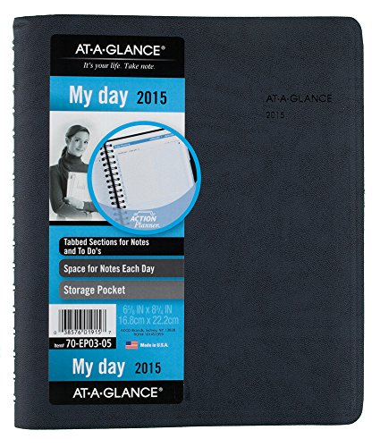 A-glance Action Planner - AT-A-GLANCE The Action Planner Daily Appointment Book 2015, Wirebound, 6.88 x 8.75 Inch Page Size, Black (70-EP03-05)