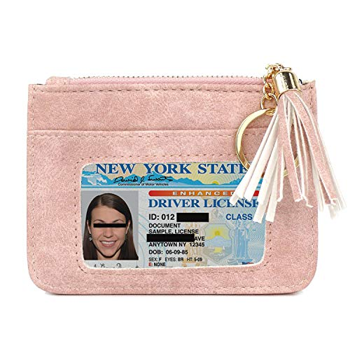 Pink Coin Purse - Leather Wallet - Credit Card Holder with Key Ring and ID ()