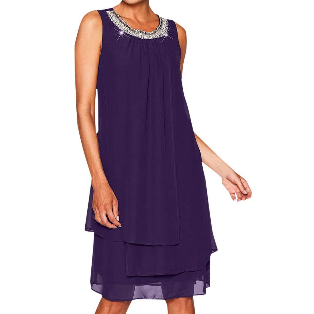 peacur Women Sleeveless Dresses Summer Fashion Chiffon Plus Size Sequin O-Neck Casual Swing Party Mini Dress Purple