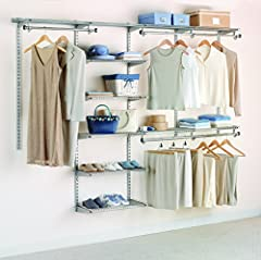 Make the most of your space with the Rubbermaid Configurations Closet Kits. Designed for better organization and maximizing space, this 4 to 8 ft. Deluxe Closet Kit includes shelves and rods that adjust for a custom fit. Get up to 22 ft. of s...