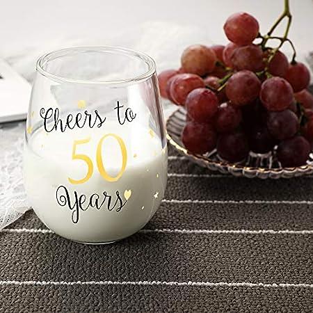50 cumpleaños divertido Copas de vino sin tallo de oro Regalos para mujeres hombres Regalos de jubilación Regalo para el mejor amigo Fiesta Boda Aniversario
