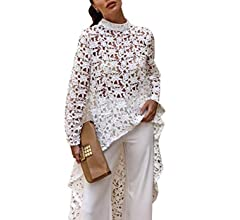 df83a8c5248 PRETTYGARDEN Women's Lantern Long Sleeve Round Neck High Low Asymmetrical  Irregular Hem Casual Tops Blouse Shirt Dress (101088 White, Small) at Amazon  ...