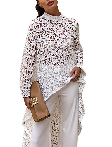 PRETTYGARDEN Women's Lantern Long Sleeve Round Neck High Low Asymmetrical Irregular Hem Casual Tops Blouse Shirt Dress (101088 White, Large)