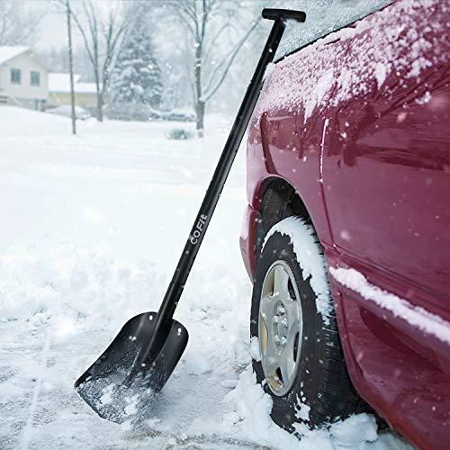 "COFIT 43"" Retractable Snow Shovel, Aluminium Alloy Snow Sand Mud Removal Tool for Car Outdoor Camping and Garden, Detachable Four-Piece Construction, Black"