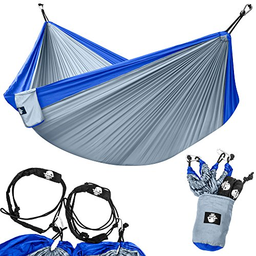 Legit Camping - Double Hammock - Lightweight Parachute Portable Hammocks for Hiking , Travel , Backpacking , Beach , Yard . Gear Includes Nylon Straps & Steel Carabiners (Blue/Grey)
