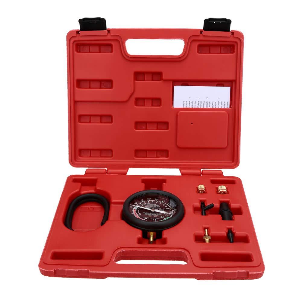 Dingq Vacuum & Fuel Pump Pressure Tester Pressure Gauge Test Tool Kit Carburettor Valve