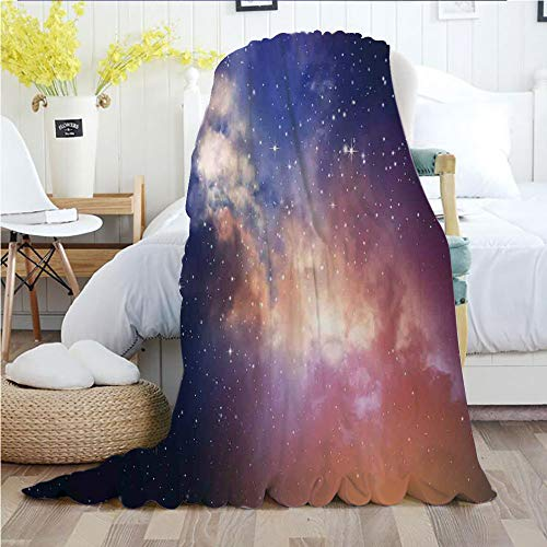 Ylljy00 Space,Throw Blankets,Flannel Plush Velvety Super Soft Cozy Warm with/Stars in Sky Supernova Comet Constellation Light Years Meteor Planetary Image/Printed Pattern(60