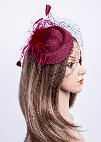 Cizoe Fascinators Hats 20s 50s Hat Pillbox Hat Cocktail Tea Party Headwear with Veil for Girls and Women (B-Burgundy) by Cizoe (Image #1)