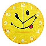 Dozili Smiley Emoji Cute Face Decorative Wooden Round Wall Clock Arabic Numerals Design Non Ticking Wall Clock Large for Bedrooms, Living Room, Bathroom