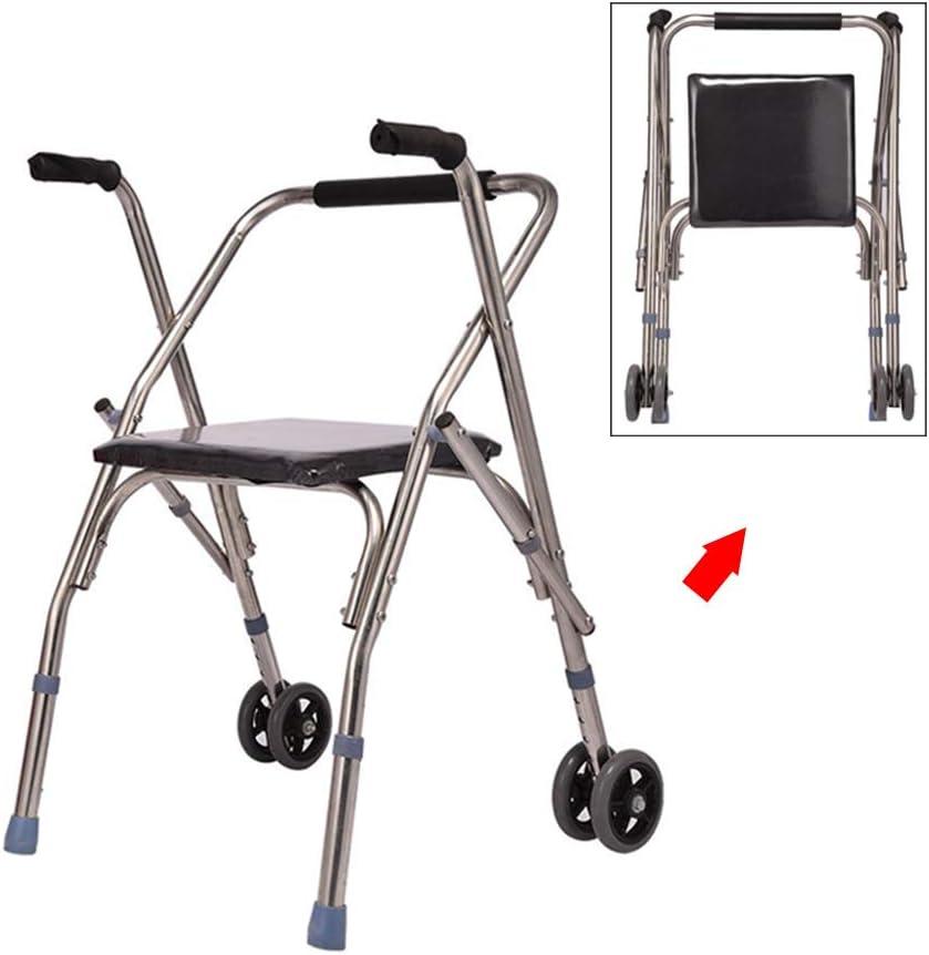 WANXJM Andador de Edad Avanzada con Asiento y Rueda, Bastidor portátil para discapacitados Plegable de Acero Inoxidable Ajustable en Altura, bastón de Cuatro Patas, Silla de baño