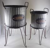 Set of 2 Metal Freestanding Farmhouse Planter For Sale